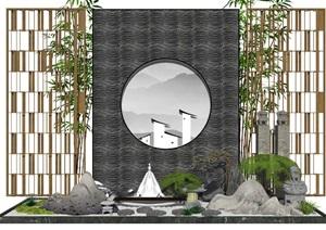 新中式景观小品庭院景观隔断景墙片石假山石头SU(草图大师)模型