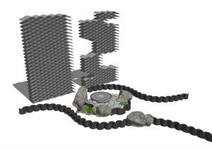 新中式景观小品瓦片波浪瓦路牙石头瓦片景墙SU(草图大师)模型