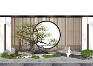 新中式庭院景观 景观小品 隔断 景墙 树 石头SU(草图大师)模型