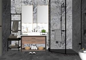 现代轻奢卫生间 卫浴 洗手台 马桶 浴缸 淋浴间SU(草图大师)模型1