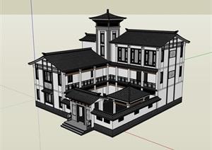 详细的中式别墅居住建筑楼SU(草图大师)模型