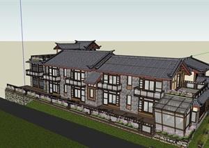 独特中式居住详细的别墅设计SU(草图大师)模型