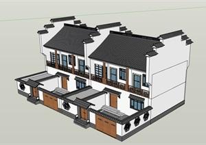 中式双拼居住详细的别墅设计SU(草图大师)模型