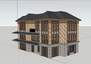 欧式精致的居住详细的别墅设计SU(草图大师)模型