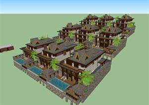 东南亚风格居住详细的别墅设计SU(草图大师)模型