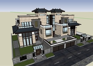 双拼中式居住详细的别墅设计SU(草图大师)模型