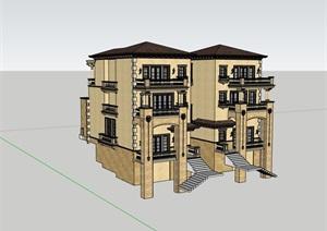 双拼完整居住详细的别墅设计SU(草图大师)模型