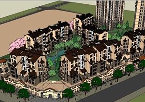 整体完整小区居住详细的别墅设计SU(草图大师)模型