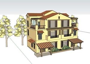 双拼三层居住详细的别墅设计SU(草图大师)模型