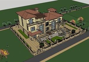 独栋欧式居住详细的别墅设计SU(草图大师)模型