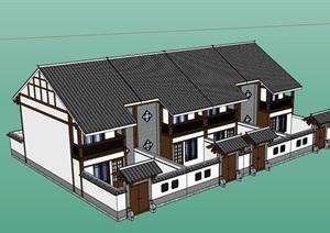 中式小区居住详细的别墅设计SU(草图大师)模型