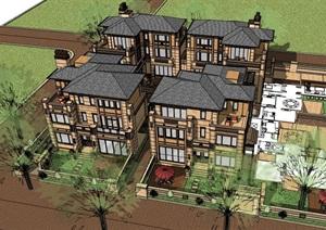 独特的居住详细的别墅设计SU(草图大师)模型