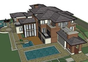 独特居住详细的别墅设计SU(草图大师)模型