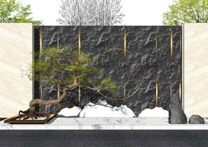 新中式景墙景观小品景观树松树片石假山SU(草图大师)模型
