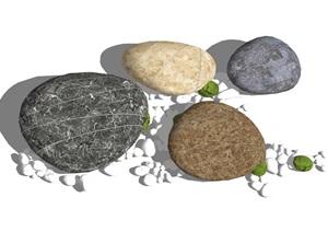 新中式石头鹅卵石景观石头SU(草图大师)模型