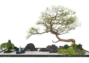 新中式景观小品片石假山松树庭院景观SU(草图大师)模型