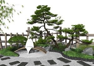 新中式庭院景观 景观小品 树 石头 栏杆 枯山水 植物SU(草图大师)模型