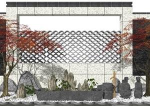 新中式庭院景观 景观小品 树 石头景墙 鹅卵石 植物SU(草图大师)模型