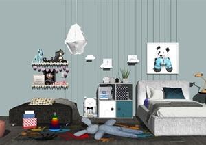 现代儿童床儿童柜玩具 布娃娃组合SU(草图大师)模型