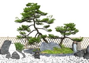 新中式景观小品庭院景观枯山水松树石头景观树SU(草图大师)模型