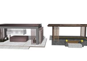 新中式亭子 廊架 廊亭 休闲亭SU(草图大师)模型8