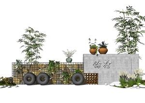 现代乡村民宿景墙乡村景观石笼网轮胎盆栽SU(草图大师)模型
