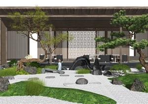 新中式景观小品庭院景观枯山水景观亭松树石头茶室SU(草图大师)模型