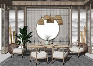 新中式凉亭茶几休闲椅隔断屏风摆件吊灯SU(草图大师)模型