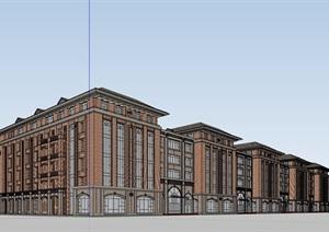 欧式风格多层学校教育建筑楼SU(草图大师)模型