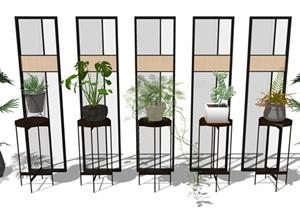 新中式盆栽 隔断 架子 植物 绿植SU(草图大师)模型