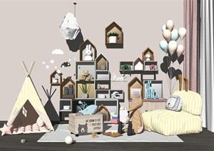 北欧实木儿童柜玩具 帐篷 公仔 床SU(草图大师)模型