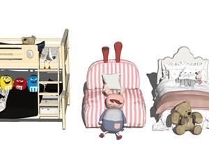 北欧儿童床 床 抱枕 枕头组合SU(草图大师)模型