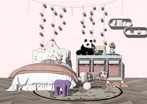 现代儿童房 儿童床 摆件 玩具 收纳箱 布娃娃 公仔SU(草图大师)模型