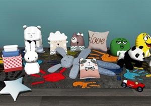 现代儿童玩具 布娃娃 公仔 抱枕组合SU(草图大师)模型