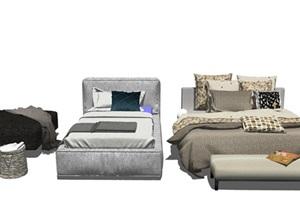 北欧儿童床 床 抱枕 枕头组合SU(草图大师)模型2
