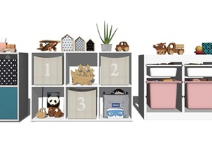 现代儿童边柜 收纳柜 储物柜 儿童玩具 摆件SU(草图大师)模型