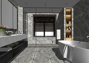 现代轻奢卫生间淋浴用品洗手台镜子花洒浴缸SU(草图大师)模型