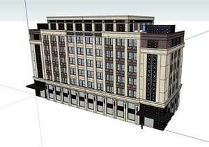 现代多层详细的办公建筑SU(草图大师)模型