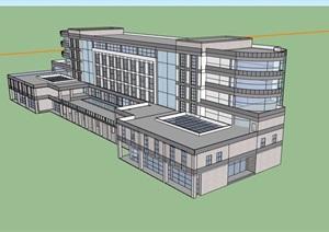 英式完整的办公楼设计SU(草图大师)模型