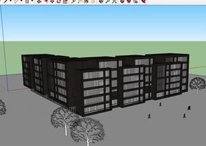 现代详细的完整的办公楼设计SU(草图大师)模型