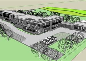 现代两层完整的办公楼设计SU(草图大师)模型