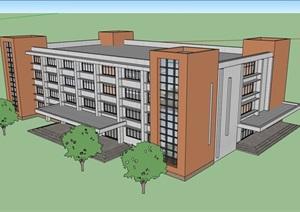 现代四层完整的办公楼设计SU(草图大师)模型