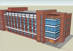四层现代完整的办公楼设计SU(草图大师)模型