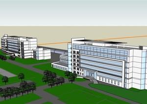 现代完整的办公楼设计SU(草图大师)模型