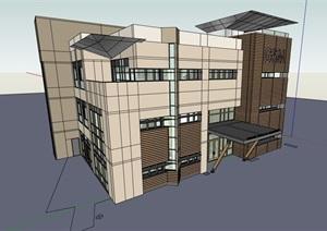 三层现代完整的办公楼设计SU(草图大师)模型