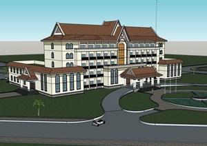 东南亚完整的办公楼设计SU(草图大师)模型
