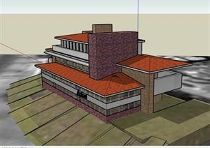 欧式多层完整的办公楼设计SU(草图大师)模型