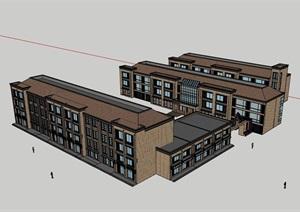 多层欧式完整的办公楼设计SU(草图大师)模型