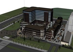 欧式风格商业办公完整建筑楼设计SU(草图大师)模型