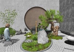 新中式禅意庭院景观 景观小品 石头 植物SU(草图大师)模型
